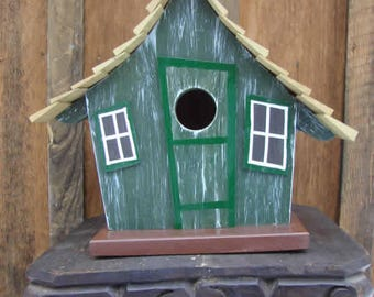 Whimsical Birdhouse Green, Wooden Birdhouse, Painted Birdhouse, Outdoor Birdhouse, Unique birdhouse, Bird House