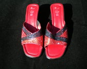 Crystal embellished shoes red leather shoes rhinestone shoes crystal shoes red and black slip on shoes size 4 wedge shoes open toe