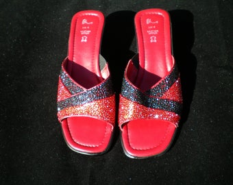 Crystal embellished shoes, red leather shoes, rhinestone shoes, crystal shoes, red and black, slip on shoes, size 4, wedge shoes, open toe