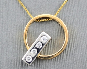 GOLD diamond necklace, white  yellow gold necklace
