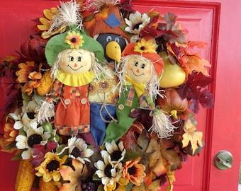Scarecrow Wreath, Autumn Fall Wreath, Thanksgiving Wreath, Pumpkins & Gourds, Autumn Flowers Leaves, Corn Cob, Seasonal Wreath, Sunflowers