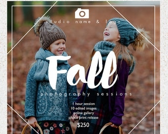 INSTANT DOWNLOAD--5x5 Fall Photography Sessions Marketing Board--Photoshop Template--f100