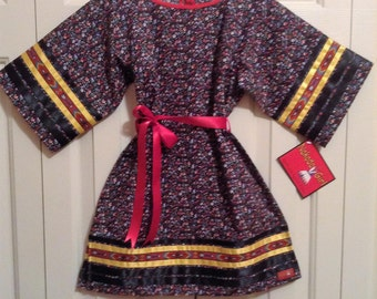 Native American Regalia *Nakoda Made* Traditional Tiny Tot BLACK Calico Ribbon Dress Size 6-12 mos