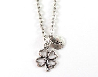 FOUR-LEAF COVER charm necklace, lucky charm necklace, personalized charm necklace, initial necklace, personnalized jewelry, initial jewelry