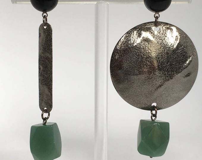 Silver drop earrings, Asymmetrical drop earrings and black agate and aventurine semi precious stones