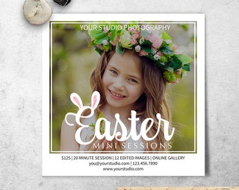 Easter Mini Sessions Template, Bunny Ears Spring Marketing Board, Photoshop Template, Blog Board & Instagram Marketing, Instant Download