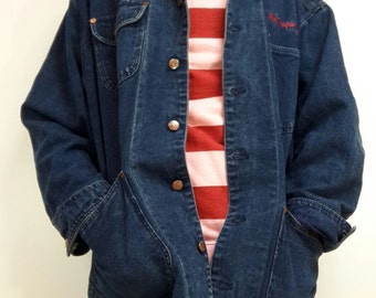 Retro Vintage denim jacket icon years 80 's. Best company designer Olmes Carretti size xl made in Italy
