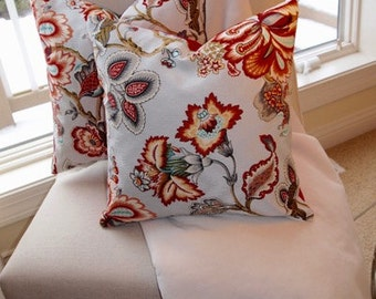 "Custom Red/Grey Floral Decorative Throw Pillow Cover 18""x18"",Reversible with zip closures"