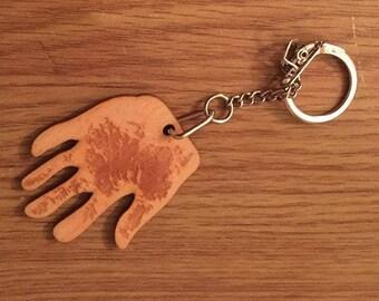 Personalised Wooden Handprint / Footprint Keyring