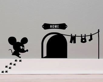 Mouse hole Wall Decal Sticker, 3d wall sticker, Funny mouse decal, Vinyl wall decal stickers kids Room, Room Decor wall murals