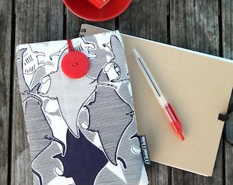 Manta ray iPad mini sleeve, padded with button closing