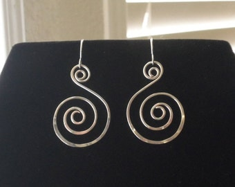 Hand Forged Double Spiral Dangle Earrings Artisan Made in USA