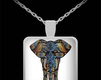 Elephant Jewelry - Elephant Necklace  - Abstract Elephant Pendant - Best Gift for Elephant Lovers, Women - 22 in Chain - Mother's Day Gift