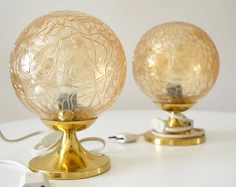 Set 60's brass and glass table lamps
