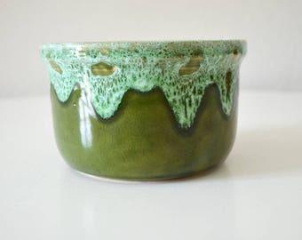 Vintage GDR flower pot green glazed Bowl DDR
