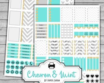 Printable Erin Condren Planner Stickers | Mint GOLD Planner Stickers | Chevron Mint Planner Stickers | Life Planner Stickers | Happy Planner