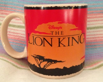 Vintage Disney The Lion King Coffee Mug Savanna sunset