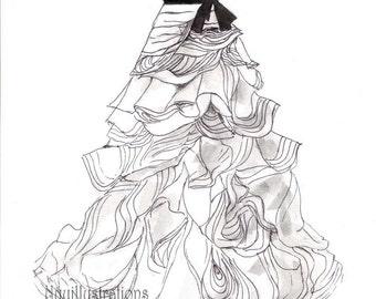 Wedding dress sketch | Etsy