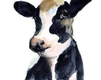 ORIGINAL Cow Watercolor Cow Painting Illustration Farm Animal Nursery Art Hand Painted 6x8