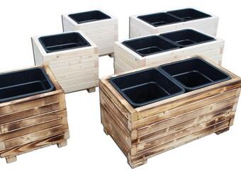 "Flowerpot ""Vanessa"" flower pot XL, XXL solid wood spruce handmade flower pots, natural - white varnished or flamed"