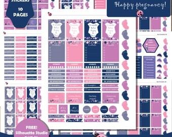 Pregnancy Planner Stickers, Printable Milestones Planner Stickers, Pregnancy Trackers, Maternity Countdown, Pregnancy Weeks Planner  ST-42