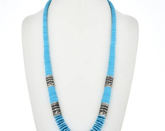 Navajo Jewelry Blue Turquoise Silver Beaded Necklace Sleeping Beauty Color