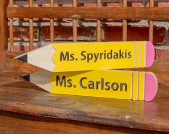 Pencil Teacher Name Sign. Personalized and Carved Looks great on a Desk, Wall or Shelf.  Teacher Gift