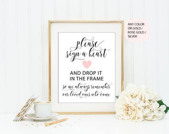 Please sign a heart PRINTABLE, wedding guest book sign, heart guestbook sign, wedding reception sign, rustic wedding sign, BC1