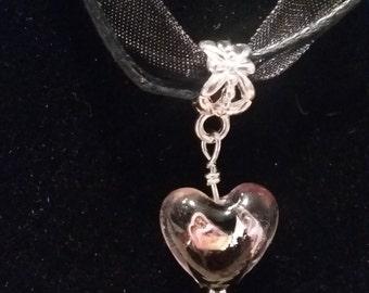 Black Glass Heart Dangle Bead Necklace