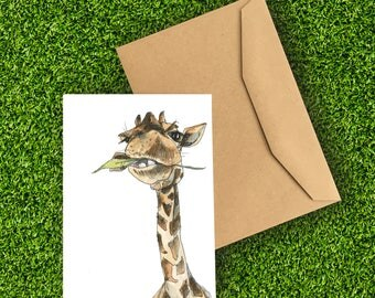 Giraffes | A6 Greetings Card | Birthday | Funny | Just Because | Friend | African Animals | Photobomb | Fathers Day | Snowtap