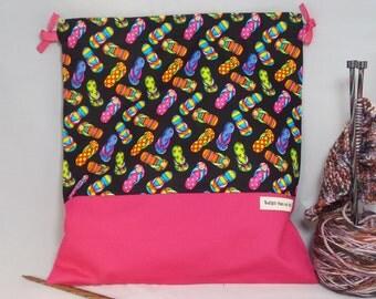 Flip Flops,  Knitting Bag, Crochet Bag, Yarn Bag,  Project Bag, Sock knitting bag, Drawstring Bag
