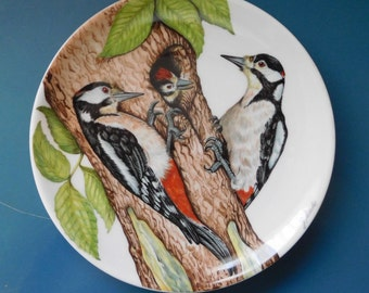 W Goebel Procelain Collector's Plate/Wall Plaque Great Spotted Woodpecker Boxed