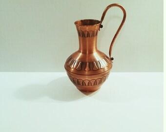 Vintage Mid Century Copper German Echt Handarbeit HMZ Pitcher Vase with handle