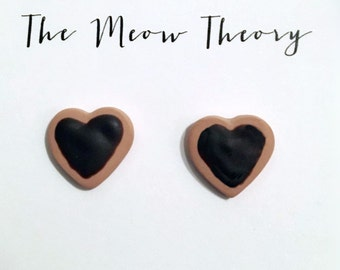 Chocolate Covered Heart-shaped Cookie Stud Hand-made Earrings