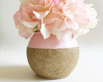 Pink and Gold Vase - Pink and Gold Decor - Blush and Gold Wedding Vases - Bridal Shower Decor - Home Decor - Table Decor - Champagne Gold