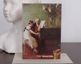 The Harpsichord Lesson Card, from Muenier, Greeting Card, Fine Art, Vintage, Retro