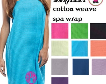 SPA WRAP - Monogrammed Waffle Weave Spa Wrap - One Size - Free Ship