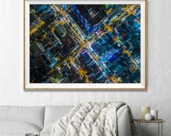 Hong Kong City Aerial Photography, Abstract Large Wall Art Decor, Colour Fine Art Photography, Art Prints, Night Lights Abstract Art