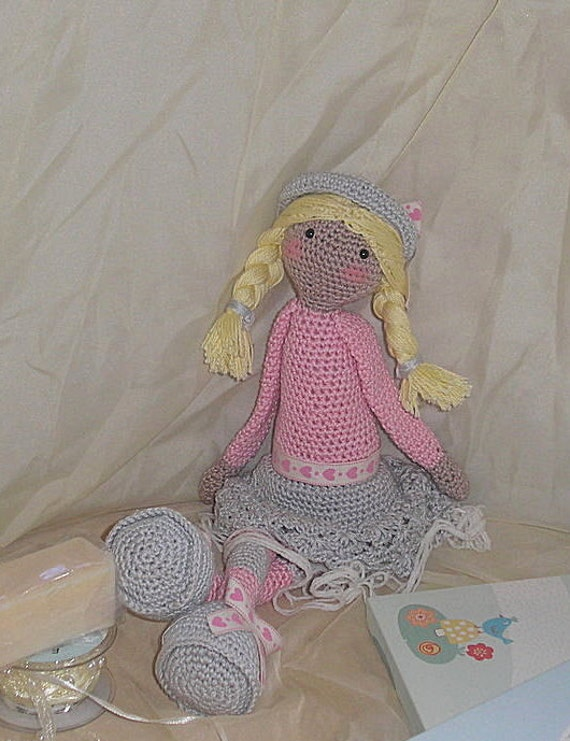 Snuggle Beret Doll in Pink and Grey cotton yarn, detail with lace underskirt, long floppy arms and legs for your little one to cuddle