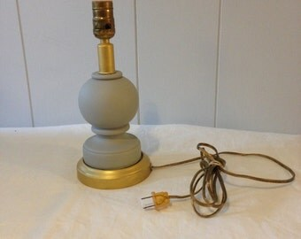 Small Light Gray & Gold Lamp