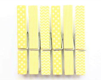Yellow + White Clothespin Magnets | Set of 6 | Super Strong | Polka Dot Magnets | Chevron Magnets | Striped Magnets | Fridge Magnets