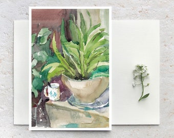 Art Postcard, Blank Card,  watercolor painting card, green beige art print,  greeting card, nature art postcard, Small Print, Botanical Card
