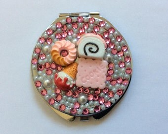 Pink and White Candy Bling Bling Mirror