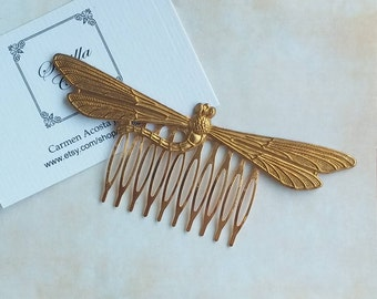 Comb with raw brass dragonfly
