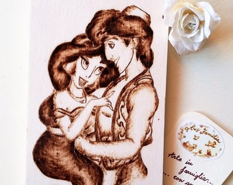Wood plaque Disney-Aladdin and Jasmine-(-ASH)