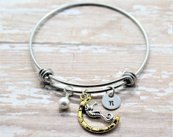 Seahorse Bracelet - Silver Seahorse - Personalized Seahorse Charm Bracelet - Seahorse Bangle Bracelet - Seahorse Gift - Beach Gift Idea