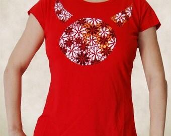 Red Shirt - Hand Painted T Shirt - Handpainted Shirt - Womens Shirts - Womens T Shirts - T Shirts for Women  - T Shirt Women - Funny Tshirts