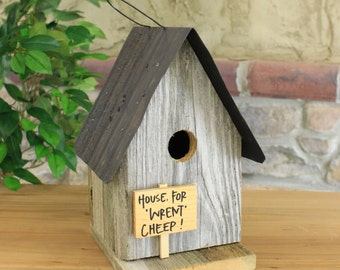 Wooden House For Rent Birdhouse With Rustic Tin Roof - 3 Assorted Colors Red, Natural, White