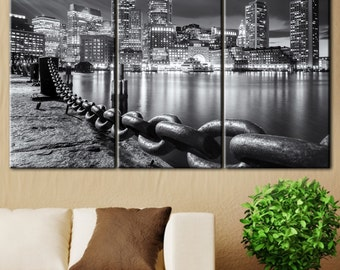 Boston Wall Art, Boston Canvas, Wall Art Decor, Living Room Wall Art,