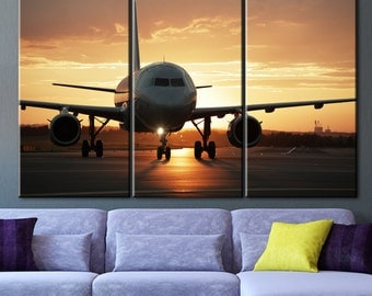 Sunset at the airport, print on the wall, Big liner art, Liner at the airport, Large aircraft, Airplane picture, Painting on canvas